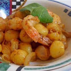 Creamy Saffron Shrimp with Gnocchi and Caramelized Onion 1